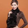 Women Fashion Knitted Rex Rabbit Fur Scarves Winter warm Wave Scarf Wraps - Coffee