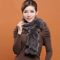 Women Fashion Knitted Rex Rabbit Fur Scarves Winter warm Wave Scarf Wraps - Dark Grey