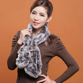 Women Fashion Knitted Rex Rabbit Fur Scarves Winter warm Wave Scarf Wraps - Grey