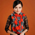 Women Fashion Knitted Rex Rabbit Fur Scarves Winter warm Wave Scarf Wraps - Orange Grey