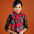 Women Fashion Knitted Rex Rabbit Fur Scarves Winter warm Wave Scarf Wraps - Rose Grey