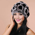 Women Knitted Rex Rabbit Fur Hats Thicker Winter Flower Handmade Warm Caps - Black Brown