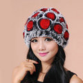 Women Knitted Rex Rabbit Fur Hats Thicker Winter Flower Handmade Warm Caps - Black Red
