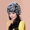 Women Knitted Rex Rabbit Fur Hats Thicker Winter Flower Handmade Warm Caps - Black