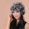Women Knitted Rex Rabbit Fur Hats Thicker Winter Flower Handmade Warm Caps - Brown