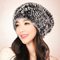 Women Knitted Rex Rabbit Fur Hats Thicker Winter Fur Ball Handmade Warm Caps - Black Grey