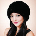 Women Knitted Rex Rabbit Fur Hats Thicker Winter Fur Ball Handmade Warm Caps - Black