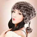 Women Knitted Rex Rabbit Fur Hats Thicker Winter Fur Ball Handmade Warm Caps - Brown