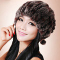 Women Knitted Rex Rabbit Fur Hats Thicker Winter Fur Ball Handmade Warm Caps - Coffee