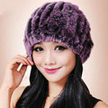 Women Knitted Rex Rabbit Fur Hats Thicker Winter Fur Ball Handmade Warm Caps - Grey Purple