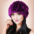 Women Knitted Rex Rabbit Fur Hats Thicker Winter Fur Ball Handmade Warm Caps - Purple