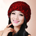 Women Knitted Rex Rabbit Fur Hats Thicker Winter Fur Ball Handmade Warm Caps - Red