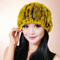 Women Knitted Rex Rabbit Fur Hats Thicker Winter Fur Ball Handmade Warm Caps - Yellow
