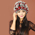 Women Knitted Rex Rabbit Fur Hats Thicker Winter Handmade Flower Warm Caps - Black Red