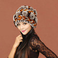 Women Knitted Rex Rabbit Fur Hats Thicker Winter Handmade Flower Warm Caps - Coffee Orange