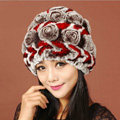 Women Knitted Rex Rabbit Fur Hats Thicker Winter Handmade Flower Warm Caps - Coffee Red