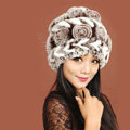 Women Knitted Rex Rabbit Fur Hats Thicker Winter Handmade Flower Warm Caps - Coffee White