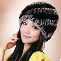 Women Knitted Rex Rabbit Fur Hats Thicker Winter Handmade Thermal Twill Caps - Black Grey