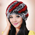 Women Knitted Rex Rabbit Fur Hats Thicker Winter Handmade Thermal Twill Caps - Black Red