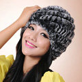 Women Knitted Rex Rabbit Fur Hats Thicker Winter Handmade Thermal Twill Caps - Black