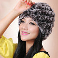 Women Knitted Rex Rabbit Fur Hats Thicker Winter Handmade Thermal Twill Caps - Brown