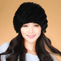 Women Knitted Rex Rabbit Fur Hats Thicker Winter Handmade Thermal Twill Caps - Dark Black