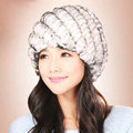 Women Knitted Rex Rabbit Fur Hats Thicker Winter Handmade Thermal Twill Caps - White Black