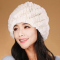 Women Knitted Rex Rabbit Fur Hats Thicker Winter Handmade Thermal Twill Caps - White