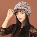 Women Knitted Rex Rabbit Fur Hats Thicker Winter Handmade Warm Peaked Caps - Brown