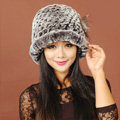 Women Knitted Rex Rabbit Fur Hats Thicker Winter Warm Flower Ear protector Caps - Black