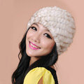 Women Mink hair Fur Hat Winter Thicker Warm Handmade Knitted Twill Caps - Beige
