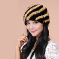 Women Mink hair Fur Hat Winter Thicker Warm Handmade Knitted Twill Caps - Yellow Black