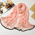 Fashion grid long scarf shawl women warm cotton silk diamond wrap scarves - Pink