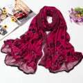 Fashion grid long scarf shawl women warm cotton silk diamond wrap scarves - Rose