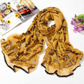 Fashion grid long scarf shawl women warm cotton silk diamond wrap scarves - Yellow
