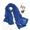 Fashion long knitted scarf shawl women warm lace woolen wrap scarves - Blue