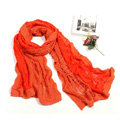 Fashion long knitted scarf shawl women warm lace woolen wrap scarves - Orange