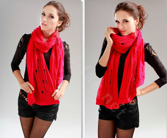 Women Knitted Grey Scarf Winter Fashion By AndyVeEirn Winter