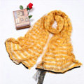Fashion organza long scarf shawl women warm silk diamond wrap scarves - Yellow