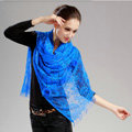 High-end Fashion long flower scarf shawl women warm lace mink wrap scarves - Blue