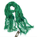 High-end Fashion long flower scarf shawl women warm lace mink wrap scarves - Green