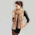 High-end Fashion long flower scarf shawl women warm lace mink wrap scarves - Khaki