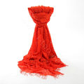 High-end Fashion long flower scarf shawl women warm lace mink wrap scarves - Orange