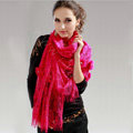 High-end Fashion long flower scarf shawl women warm lace mink wrap scarves - Rose