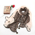 High-end Fashion long scarf shawl women warm lace chiffon wrap scarves - Beige