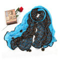 High-end Fashion long scarf shawl women warm lace chiffon wrap scarves - Blue