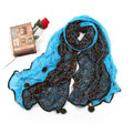 High-end Fashion long scarf shawl women warm lace chiffon wrap scarves - Green