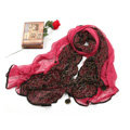 High-end Fashion long scarf shawl women warm lace chiffon wrap scarves - Rose