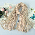 High end fashion embroidery flower lace silk long scarf shawl women wrap scarves - Beige