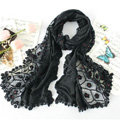 High end fashion embroidery flower lace silk long scarf shawl women wrap scarves - Black
